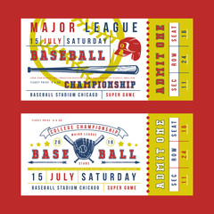 Template for vintage baseball ticket