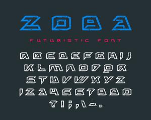 Futuristic contour font with rust texture