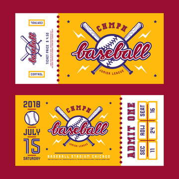 Template for baseball ticket