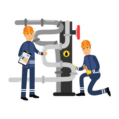 Oilmen characters working on an oil pipeline, oil industry production vector Illustration