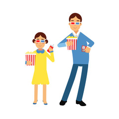 Father with his daughter wearing 3d glasses holding popcorn and soda standing in the cinema vector Illustration