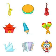 Musical taste icons set, cartoon style