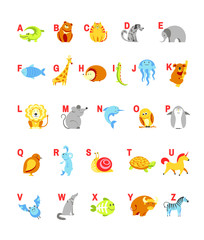 Alphabet cartoon animals with letters for child ABC study vector design