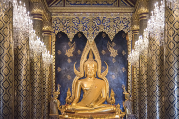 Buddha Chinarat at Wat Phra Sri Mahathat Phitsanulok.The temple is famous for its gold-covered statue of the Buddha, known as Phra Phuttha Chinnarat one of the most beautiful Buddha statue in Thailand