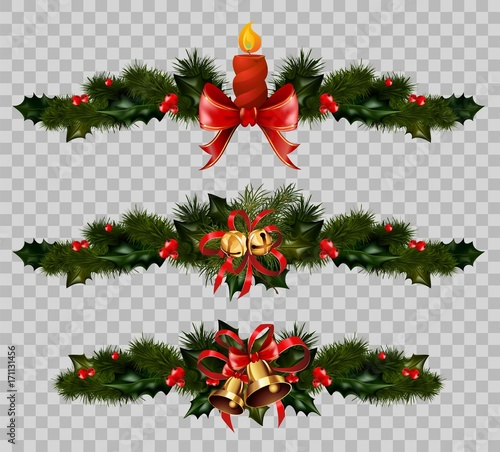 Christmas Decoration Fir Holly Wreath Bow Ribbons Elements Vector