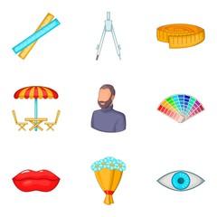 Draftsmanship icons set, cartoon style