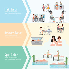 Three horizontal banners with customers in spa beauty salon.