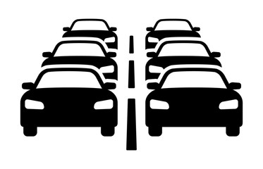 Two lanes of heavy car traffic jam flat vector icon for automobile apps and websites