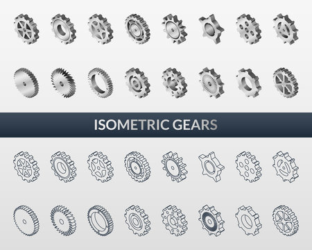 Set of web icons mechanical gears