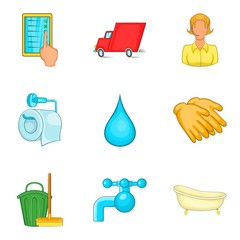 Fast cleaning service icon set, cartoon style