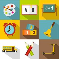 School time icon set, flat style