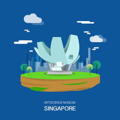 Artscience museum with high technology in Singapore illustration design.vector