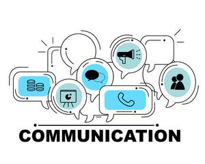 Communication icons set for business illustration design