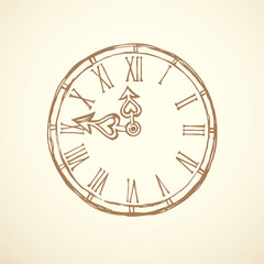 Clock. Vector drawing