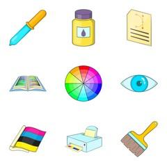 Color ratio icons set, cartoon style