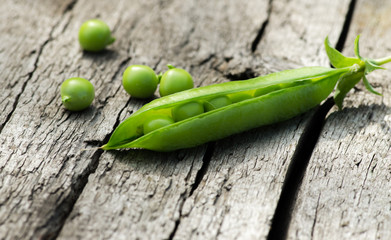 Delicious pea pod on the table