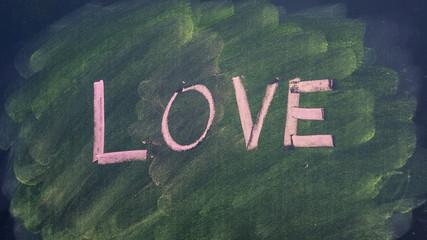 Write a love word by chalk pastels on a school blackboard.