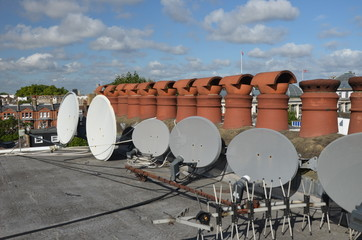 building roof, tv aerial and satellite dish