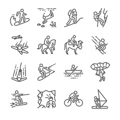 Travel activities line icon set. Included the icons as sailing, skiing, parachute, horse riding, biking, cycling and more.