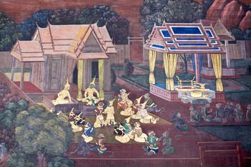 Ancient murals in Wat Phra Kaew Temple in Bangkok, Thailand