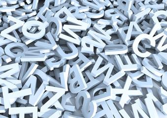 White letters. 3D Illustration. Infinite letters background.