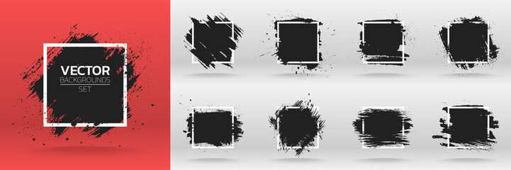 Stores photo Forme Grunge backgrounds set. Brush black paint ink stroke over square frame. Vector illustration