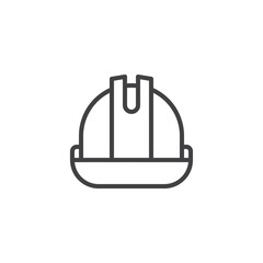 Helmet or hard hat line icon, outline vector sign, linear style pictogram isolated on white. Safety Symbol, logo illustration. Editable stroke