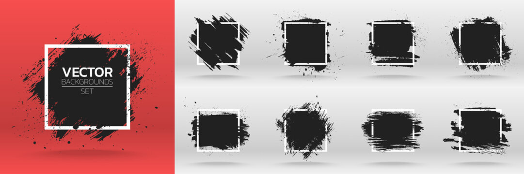 Grunge backgrounds set. Brush black paint ink stroke over square frame. Vector illustration