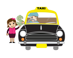Happy Girl Giving Dollar to Taxi Driver