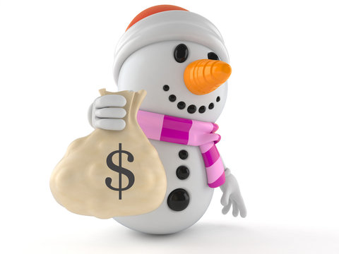 Snowman character holding money bag
