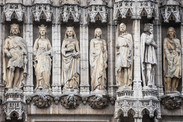 Statues in the Facade of the Brussels Town Hall