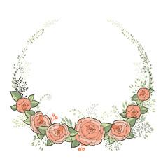 Vintage Wedding Invitation Card. Elegant Floral Frame with Beautiful Roses. Vector Illustration