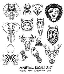 Set of Animal doodle illustration Hand drawn Sketch line vector eps10
