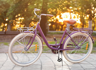 Modern beautiful bicycle standing in park