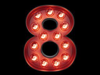 Light bulb digit alphabet character 8 eight font