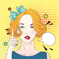 Pop art surprised woman face with a finger raised . Comic woman with speech bubble. Vector illustration.