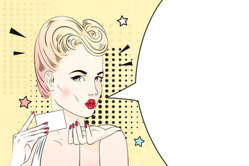 Pop art blonde woman with retro hairstyle sends an air kiss and holds visit card. Comic woman with speech bubble. Vector illustration.