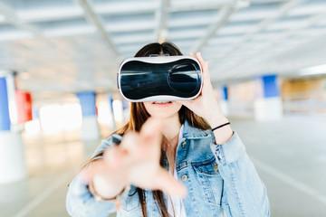Brunette with VR glasses