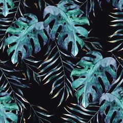 Akwarela egzotyczny bezszwowy wzór, zieleni tropikalni liście, botaniczna lato ilustracja na czarnym tle