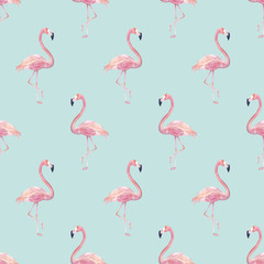 Tuinposter Flamingo Watercolor seamless pattern with exotic flamingo. Summer decoration print for wrapping, wallpaper. Hand drawn illustration