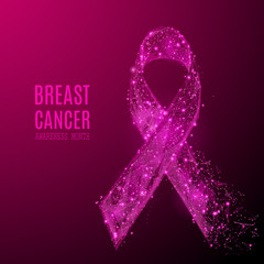 breast cancer awareness month. Abstract pink ribbon isolated on white background. Low poly wireframe digital illustration with destruct shapes. Vector polygonal image.