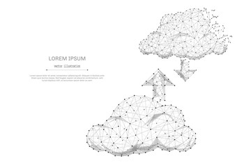 CLOUD service isolated from low poly wireframe on white background. Tochnology and internet. Vector abstract polygonal image mash line and point with destruct shapes.