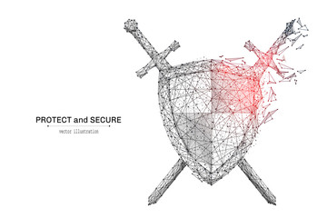 Abstract polygonal Shield and Swords isolated on white background. Low poly wireframe vector illustration. Protect and secure concept digital concept mash line and point with destruct shapes.