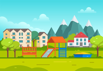 Housing estate with playground by the mountains - modern vector illustration