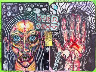 Papiers peints Carnaval Manoscritti alchemici e misteriosi con graffiti,tarocchi,schizzi,disegni e simboli esoterici,astrologici e alchemici