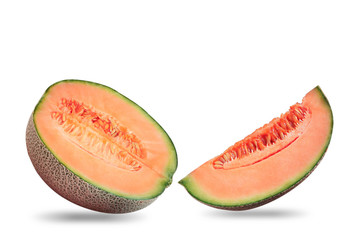 Melon sliced on white background.