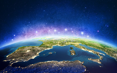 Wall Mural - Europe from space galaxy stars. 3D rendering