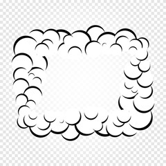Isolated cartoon speech bubbles, frames of smoke or steam, comics dialogue cloud, vector illustration on white transparent background.