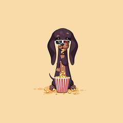 Vector stock illustration emoji cartoon character dog talisman, phylactery hound, mascot pooch, bowwow dachshund sticker emoticon German badger-dog chewing popcorn, watch movie in 3D glasses
