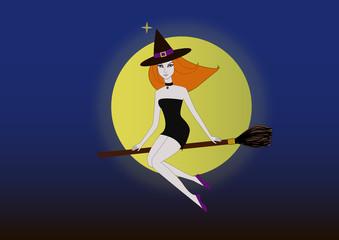 sexy witch in purple dress over a dark halloween night sky